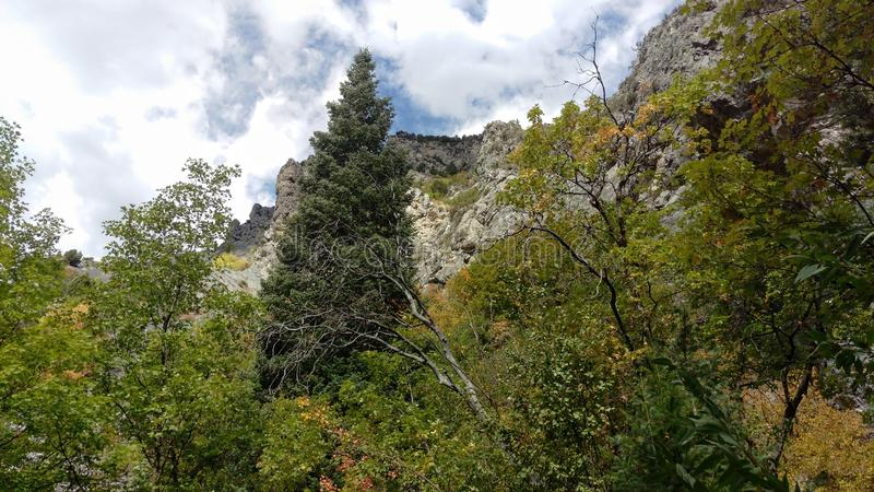 Craggy Cliffs in Rock Canyon. A rugged craggy cliffs of Rock Canyon in Provo, Ut royalty free stock photography