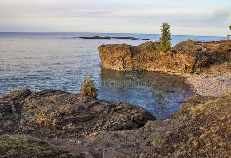 Rugged Lake Superior. The rugged wild beauty of Presque Isle Park on the shores of Lake Superior in Marquette, Michigan. Lake Superior is the largest freshwater stock images