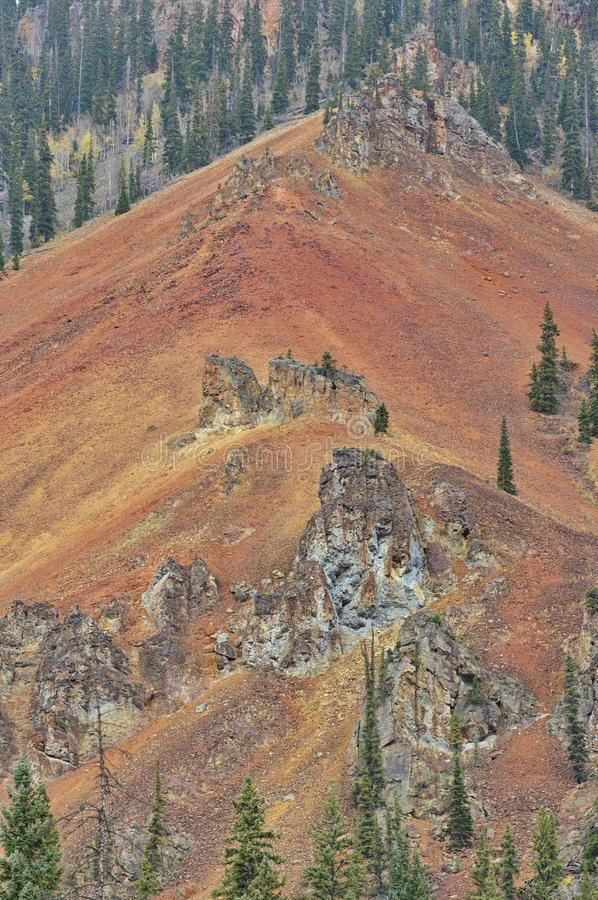Rugged mountain vista on Million Dollar Highway stock image
