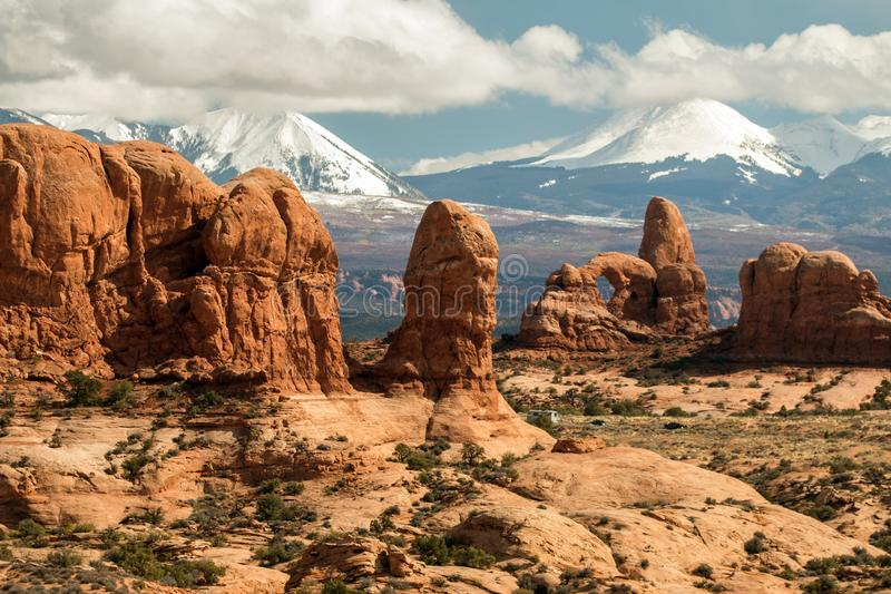 Rugged Rock Formations In Arches National Park, Utah. stock photo