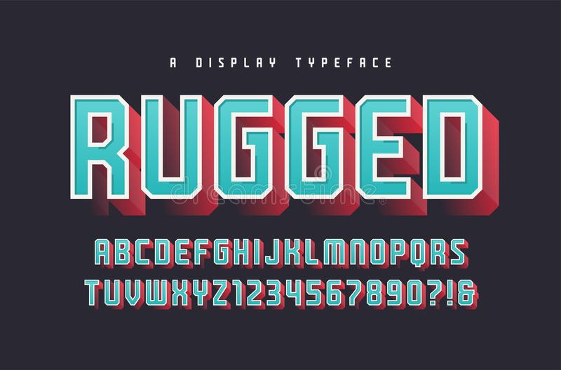 Rugged vector stylish 3d display typeface, font, uppercase letters and numbers, alphabet, typography. vector illustration