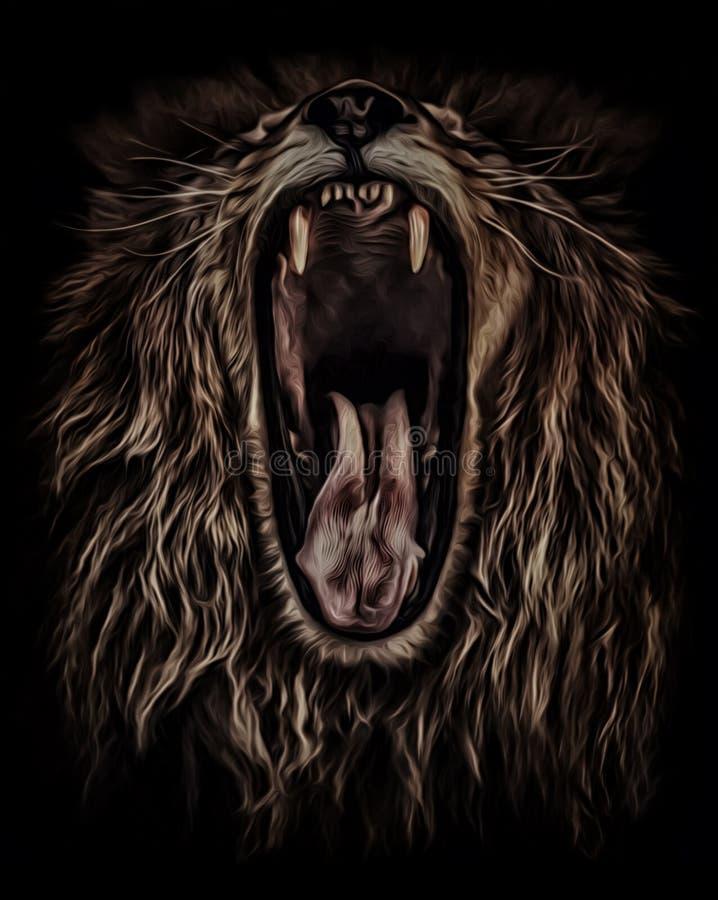 Rugidos del león, retrato en color de aceite imagen de archivo libre de regalías