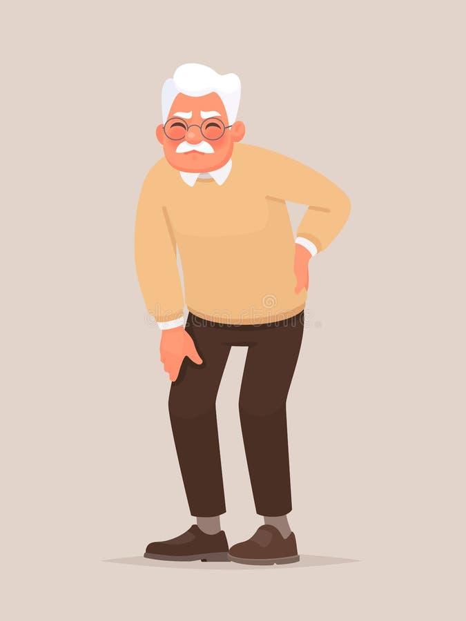 rugpijn De grootvader houdt zijn rug reumatiek vector illustratie