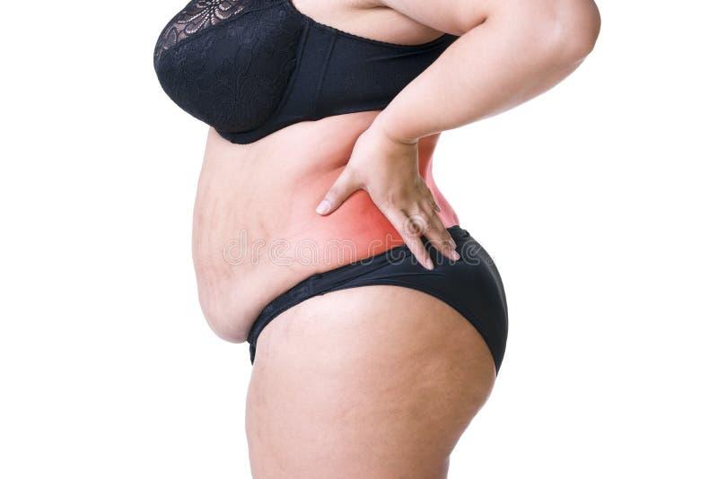 Rugpijn, vette vrouw met rugpijn, te zwaar vrouwelijk die lichaam op witte achtergrond wordt geïsoleerd stock fotografie