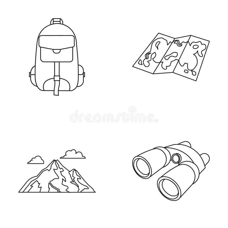 Rugzak, bergen, kaart van het gebied, verrekijkers Het kamperen vastgestelde inzamelingspictogrammen in vector het symboolvoorraa stock illustratie