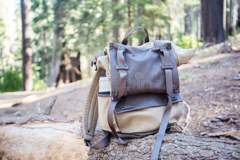 Rugzak op een steen in een nationaal park van Yosemite in Californië stock afbeeldingen