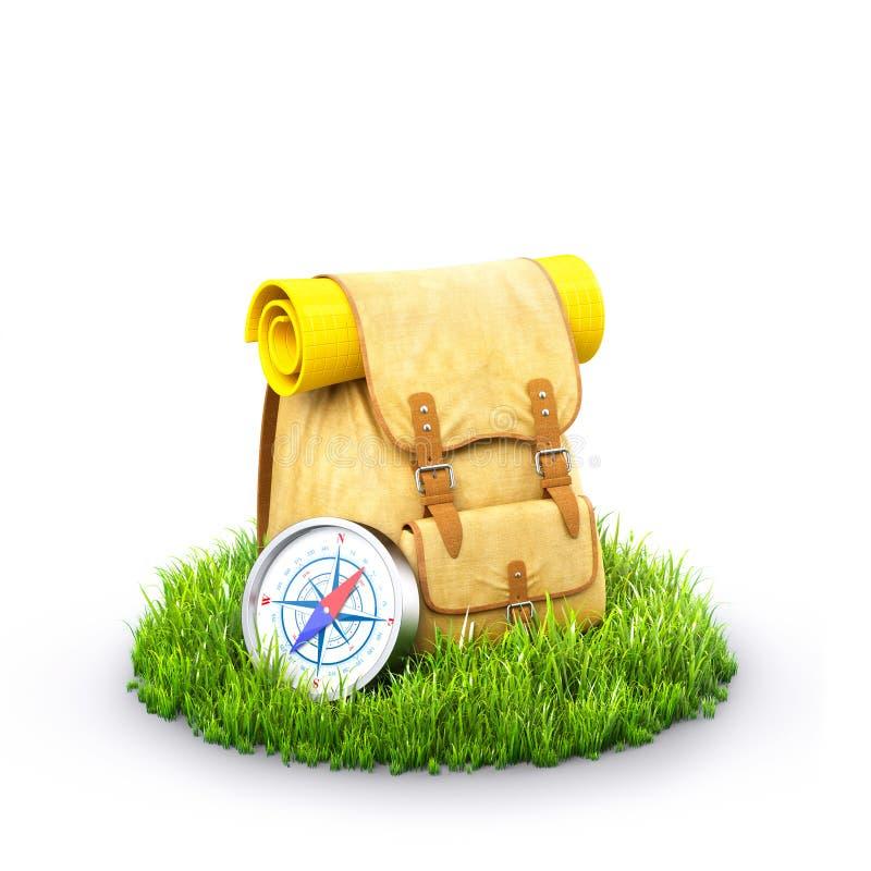 Rugzak op gras stock illustratie