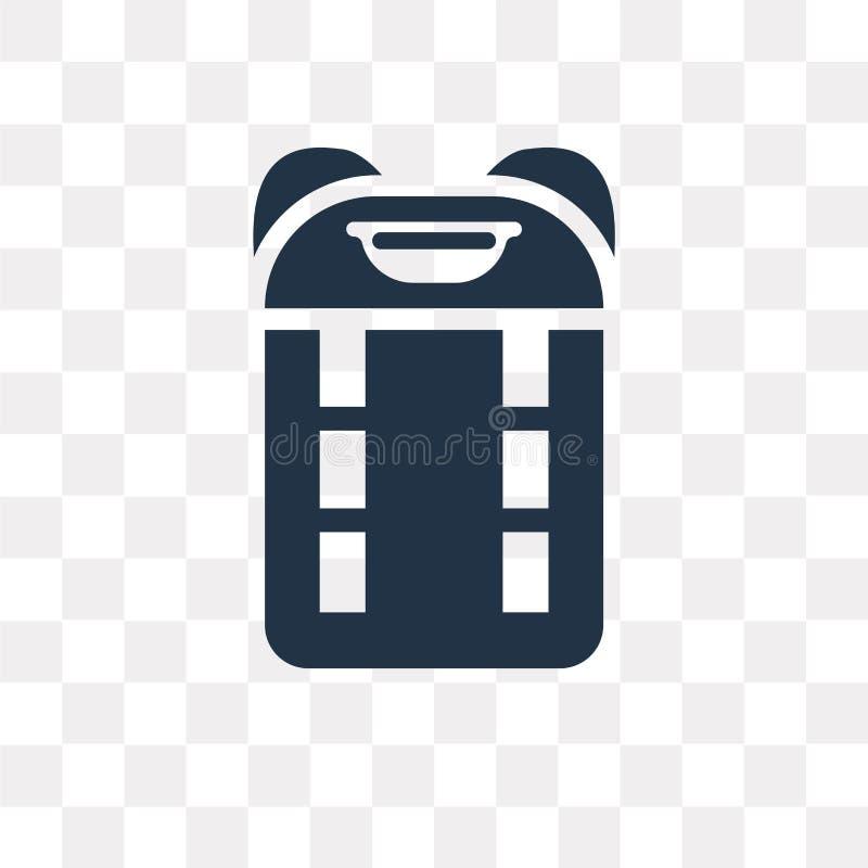 Rugzak vectordiepictogram op transparante achtergrond, Backpac wordt geïsoleerd stock illustratie