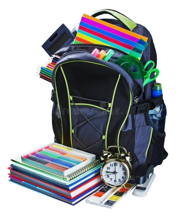 Rugzak voor schoolkantoorbehoeften geïsoleerd leren royalty-vrije stock afbeelding
