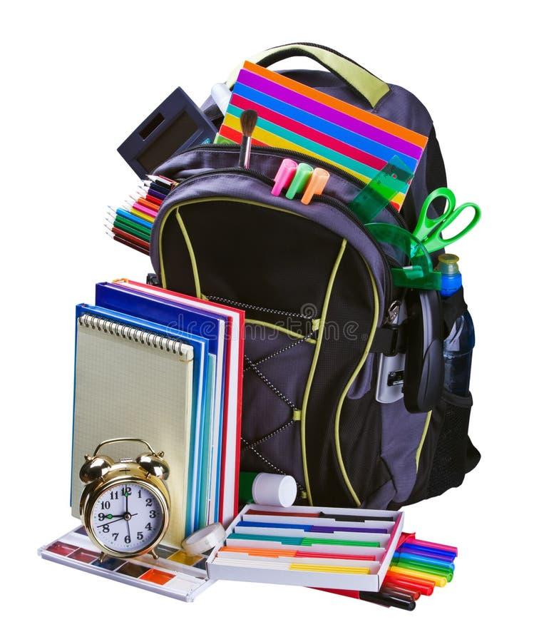 Rugzak voor schoolkantoorbehoeften het leren stock foto