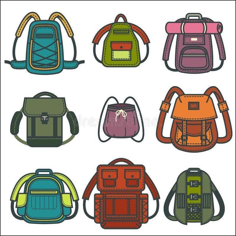 Rugzakken of rugzakvector geïsoleerde pictogrammen voor reis, manier en schooltassen vector illustratie