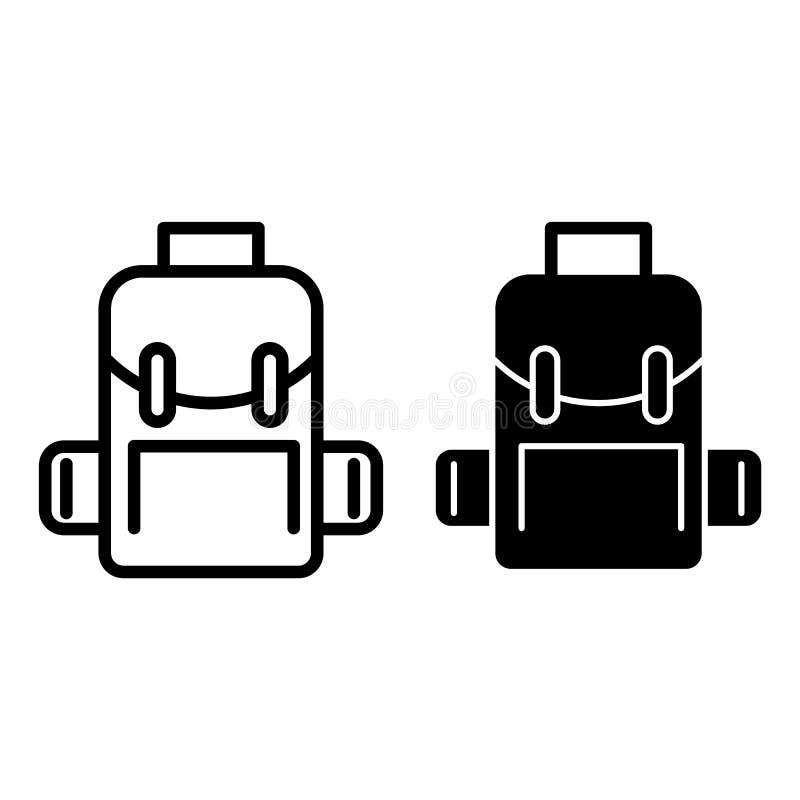 Rugzaklijn en glyph pictogram Schooltas vectordieillustratie op wit wordt geïsoleerd Het de stijlontwerp van het rugzakoverzicht, stock illustratie