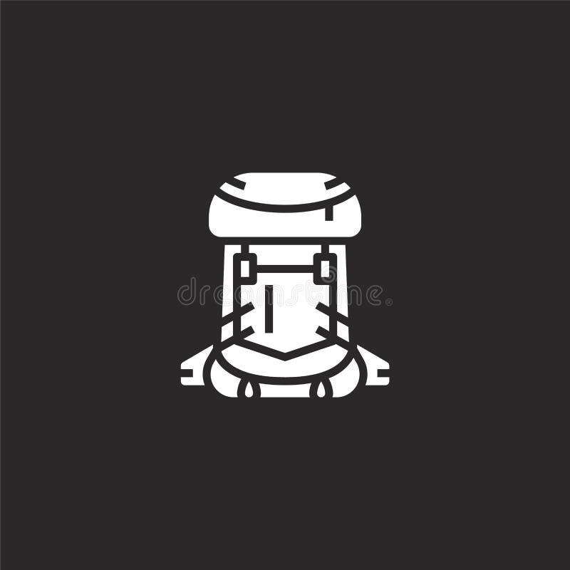 Rugzakpictogram Gevuld rugzakpictogram voor websiteontwerp en mobiel, app ontwikkeling rugzakpictogram van gevulde de zomerinzame royalty-vrije illustratie