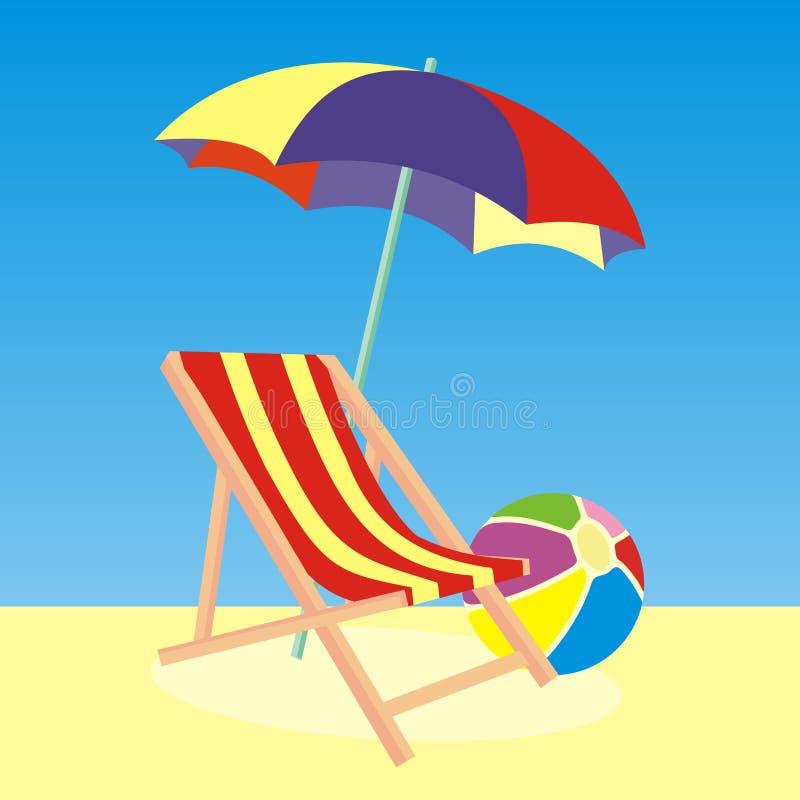 Ruhesessel-, Sonnenschirm- und Wasserball, Vektorikone stock abbildung