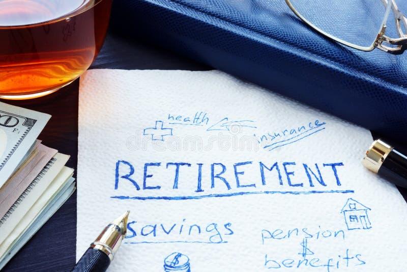 Ruhestandsplan handgeschrieben auf einer Serviette Einsparungen für Pension stockfotos