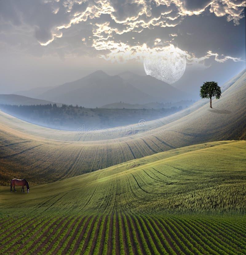 Ruhige Landschaft mit Berg vektor abbildung