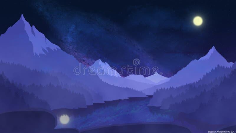 Ruhige Nacht in den Alpen stockfotos