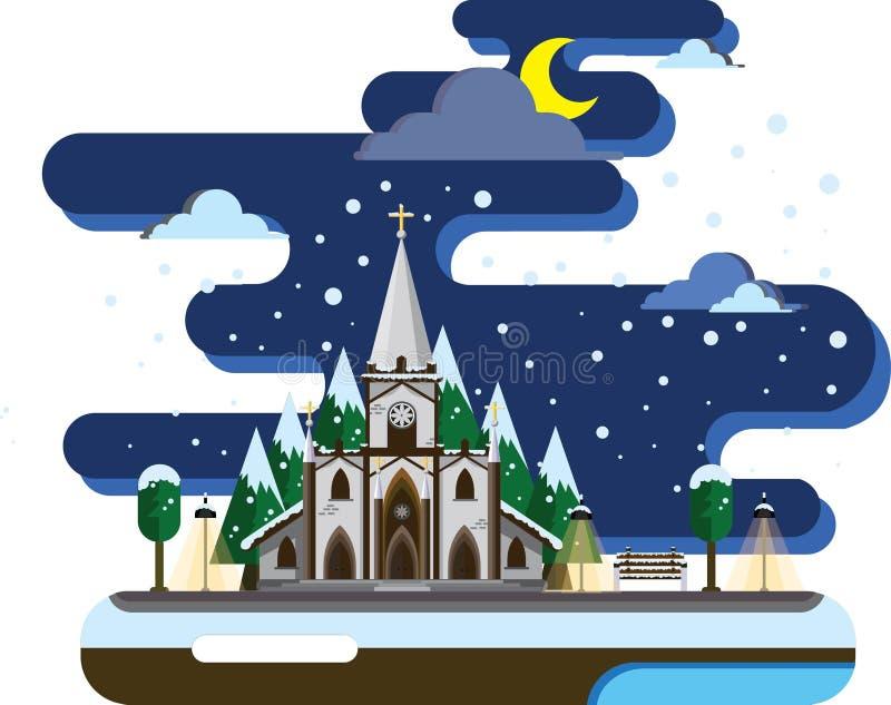 Ruhige Nacht zur Weihnachtszeit lizenzfreies stockbild