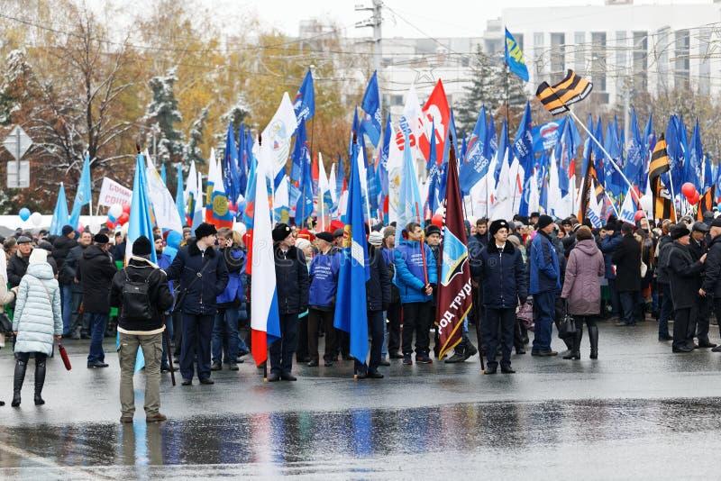 Ruhige Prozession zu Ehren des Tages der nationalen Einheit von Russland lizenzfreies stockfoto
