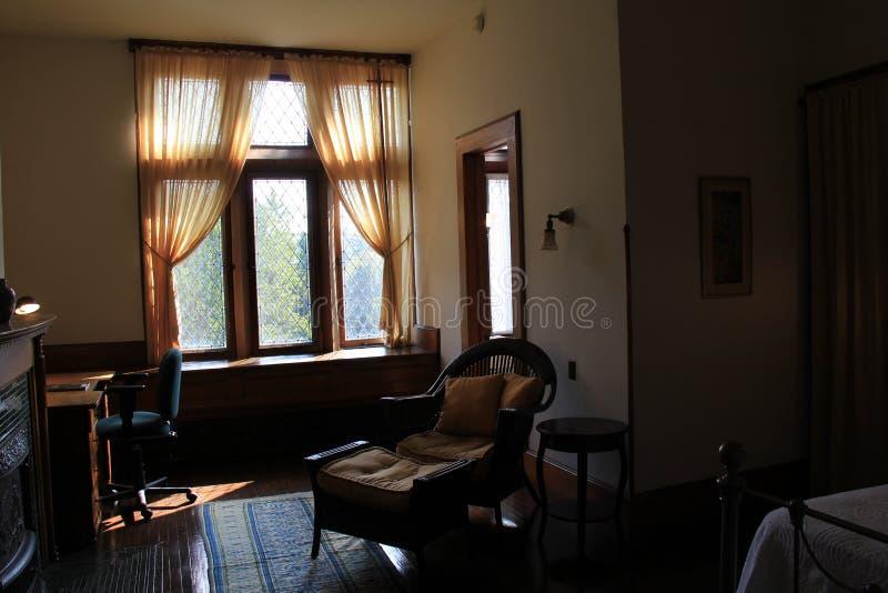 Ruhige Sitzecke in Frau Trasks Schlafzimmer, Yaddo-Garten, Saratoga Springs, New York, 2014 lizenzfreie stockfotos