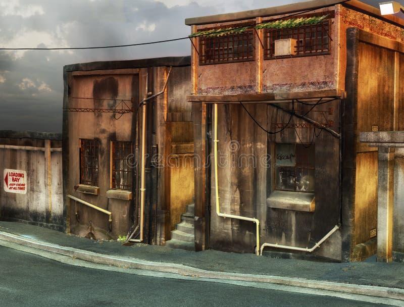 Ruhige Straße mit Gebäuden stock abbildung