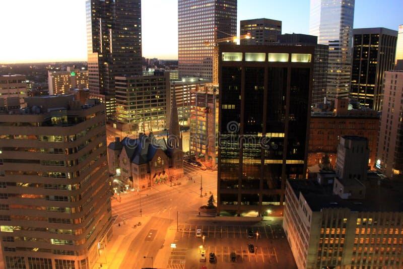 Ruhige Szene des Sonnenaufgangs des frühen Morgens, im Stadtzentrum gelegenes Denver, Colorado, 2015 lizenzfreie stockbilder