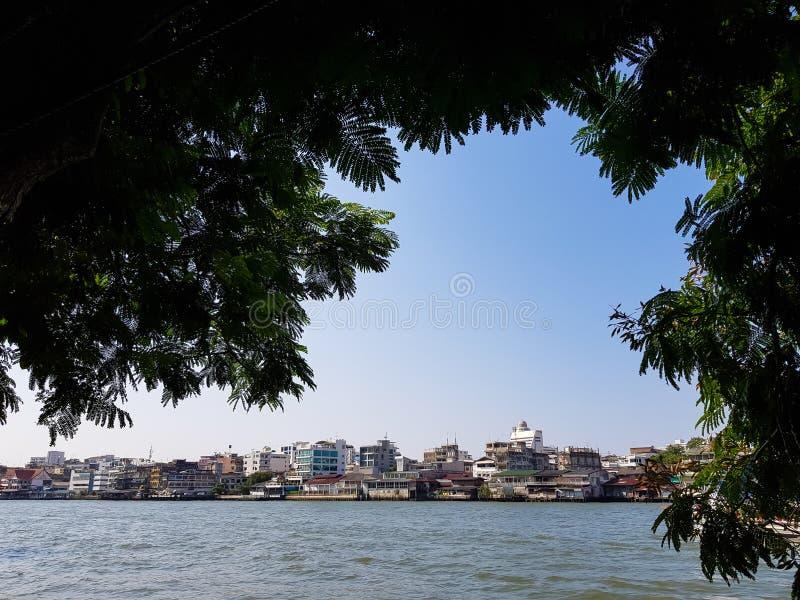 Ruhige Szene vom Chao Phraya mit Flussufergebäudeskylinen und Hintergrund des blauen Himmels des freien Raumes durch großen Bauml lizenzfreie stockbilder