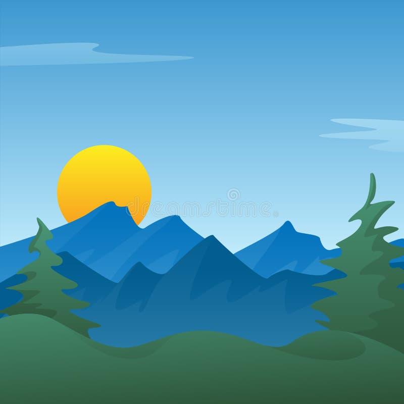 Ruhiger blauer Berglandschaftsszenenhintergrund mit Kiefern, Rolling Hills, steigende oder einstellende Sonne, Vektor Illustratio vektor abbildung