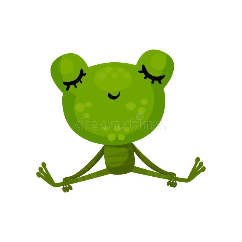 Ruhiger Frosch, der mit geschlossenen Augen sitzt Zeichentrickfilm-Figur der netten grünen Kröte Entspannung und Meditation Flach stock abbildung