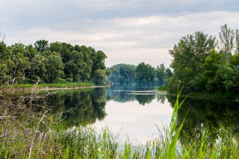 ruhiger Morgen auf dem ruhigen und schönsten See stockbild