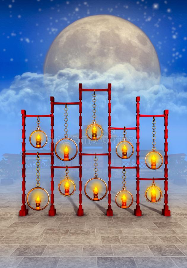 Ruhiger Tempel und Kerzenlicht lizenzfreie abbildung