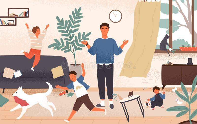 Ruhiger Vati und freche ungehorsame Kinder, die um ihn laufen Vater umgeben durch Kinderversuche, um Gleichmut zu halten lizenzfreie abbildung