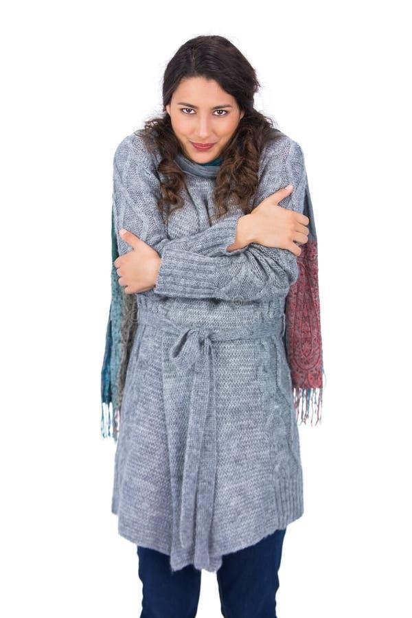 Ruhiges hübsches Modell mit der Winterkleidung, die kalt ist lizenzfreie stockfotografie