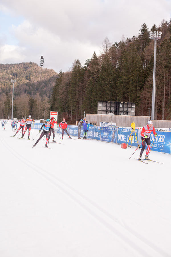 Ruhpolding, Germany, 2016/01/06: training before the Biathlon World Cup in Ruhploding. Ruhpolding, Germany - January 6, 2016: biathletes from different nations stock photo
