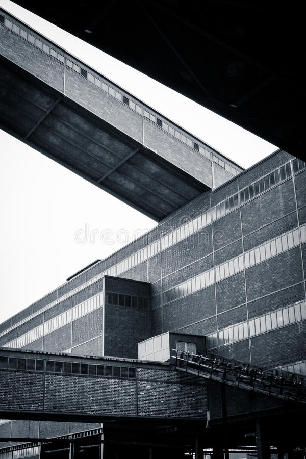 Ruhr factory building, Germany. The giant factory building which now houses the Ruhr Museum - with connecting bridges to neighbouring buildings royalty free stock photo