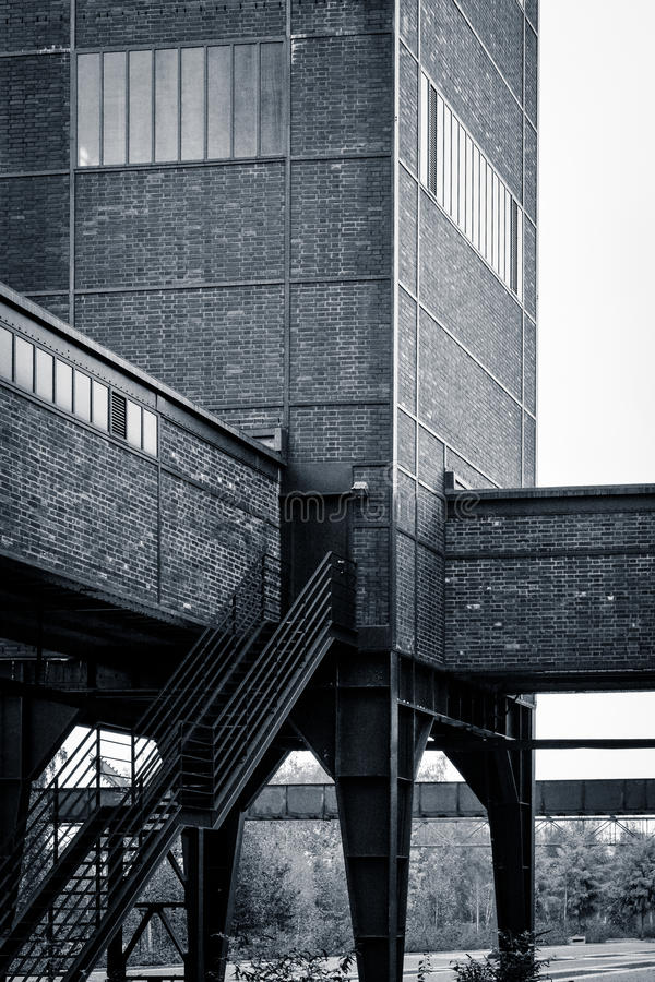 Ruhr factory building (II), Germany. The giant factory building which now houses the Ruhr Museum - with connecting bridges to neighbouring buildings and an royalty free stock image