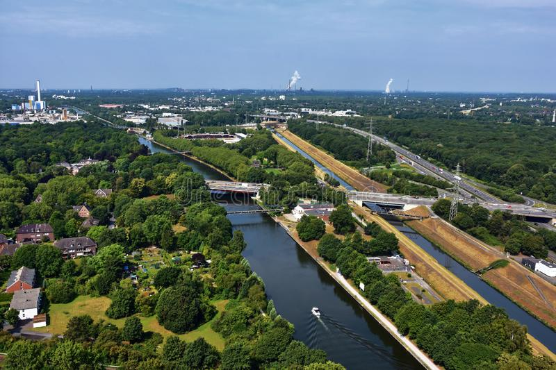 Ruhr Valley, Germany afforested area of the coal district. Panoramic view over Ruhr Valley, with Dortmund-Herne canal, the freeway and Emscher river  in