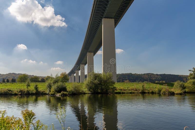 Ruhrtalbruecke near Muelheim, Germany. Ruhrtalbruecke Ruhr Valley viaduct with the River Ruhr, near Muelheim, Ruhr Area, North Rhine-Westphalia, Germany royalty free stock images