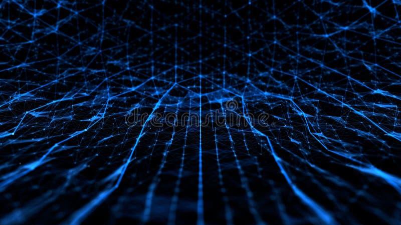 Ruido abstracto de la tecnología y de la ciencia con las líneas azul de la rejilla stock de ilustración