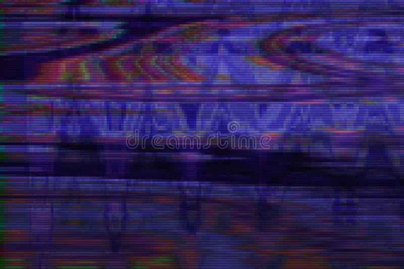 Ruido del artefacto del fondo del vhs de la interferencia, malo del pixel ilustración del vector