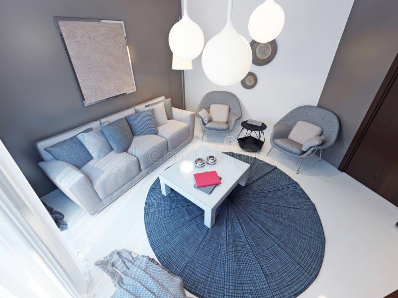 Ruim en helder binnenland van moderne woonkamer royalty-vrije illustratie