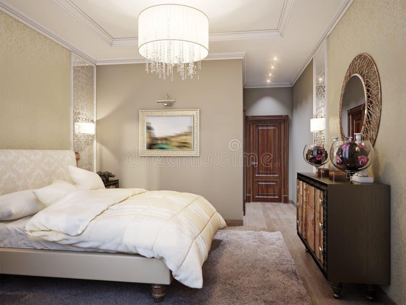 Ruim en Helder Modern Klassiek slaapkamer Binnenlands Ontwerp stock illustratie