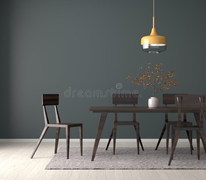 Ruime eetkamer met houten lijst en stoelen 3D Illustratie vector illustratie