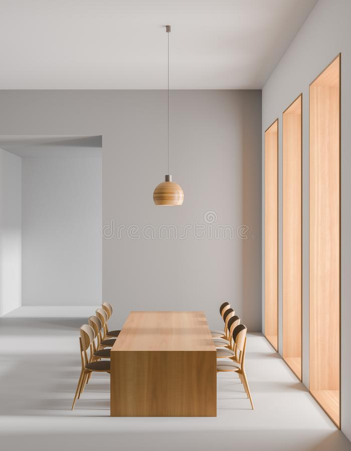 Ruime moderne eetkamer Minimalistisch eetkamerontwerp 3D Illustratie stock afbeeldingen