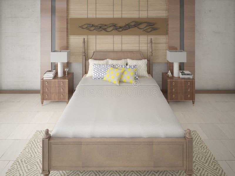 Ruime modieuze slaapkamer met een groot comfortabel bed royalty-vrije illustratie