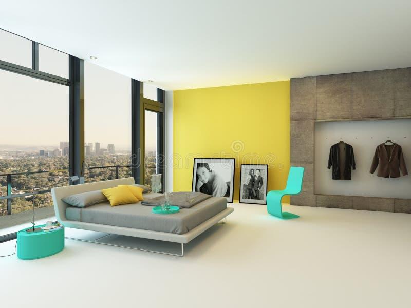 Ruime slaapkamer met een mening over de stad royalty-vrije illustratie
