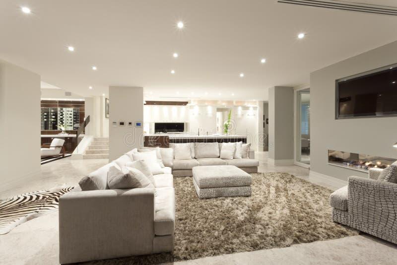 Ruime woonkamer met een groot tapijt stock afbeeldingen