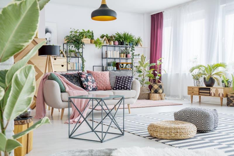 Ruime woonkamer met installaties stock afbeelding