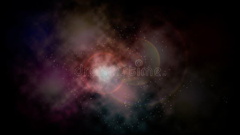 Ruimte abstracte gloeiende wolkennevel vector illustratie