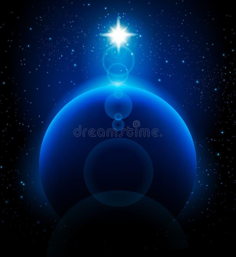 Ruimte achtergrond en blauwe planeet stock illustratie